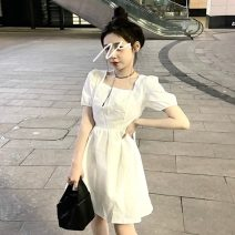 Dress Summer 2021 White, black S,M,L Middle-skirt singleton  Short sleeve Sweet square neck High waist Solid color Socket A-line skirt Others 18-24 years old Type A 30% and below solar system