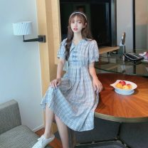 Dress Summer 2021 Red, blue Average size singleton  Short sleeve Sweet Doll Collar lattice A-line skirt puff sleeve 18-24 years old Type A fold 30% and below solar system