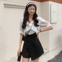 Fashion suit Summer 2021 S. M, l, XL, one size fits all White coat , Blue top , White skirt , Black skirt 18-25 years old 30% and below