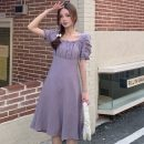 Dress Summer 2021 violet Average size Mid length dress singleton  Short sleeve Sweet square neck High waist Solid color zipper A-line skirt puff sleeve Others 18-24 years old Type A 30% and below solar system