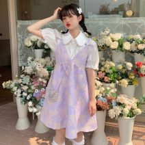 Dress Summer 2021 White shirt, white shirt quality edition, purple skirt, purple skirt quality edition Average size Middle-skirt Two piece set Short sleeve Sweet Polo collar Loose waist other Socket other puff sleeve straps 18-24 years old Type A Bright silk, strap, button, 3D, printing 30% and below