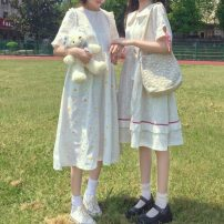 Dress Summer 2021 white Average size Middle-skirt singleton  Short sleeve Sweet Crew neck Elastic waist Decor Socket Big swing routine Others 18-24 years old Type H Embroidery , fungus , printing 30% and below solar system