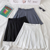 skirt Summer 2021 S,M,L Gray, white, black Short skirt Sweet High waist A-line skirt Solid color Type A 18-24 years old 30% and below Pleated, zipper solar system