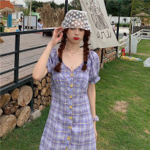 Dress Summer 2021 Purple skirt Average size Middle-skirt singleton  Short sleeve commute V-neck High waist lattice Single breasted Pencil skirt bishop sleeve Others 18-24 years old Type H Retro Button, Auricularia auricula 30% and below