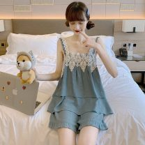 Pajamas / housewear set female Other / other Average size Suit, suit quality edition, nightdress, nightdress quality Edition other camisole sexy summer square neck Solid color shorts Socket youth 2 pieces rubber string lace Middle-skirt