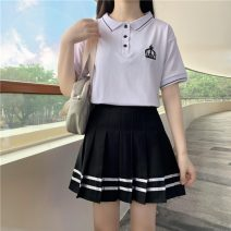 Fashion suit Summer 2021 M,L,XL White T-shirt, white T-shirt quality version, black skirt, black skirt quality version 18-25 years old 30% and below