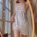 Dress Summer 2021 Floral skirt Average size Middle-skirt singleton  Sleeveless Sweet One word collar High waist Broken flowers Socket A-line skirt camisole 18-24 years old Type A Fold, tie, print 30% and below solar system