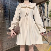 Dress Spring 2021 Picture color Average size Mid length dress singleton  Long sleeves Sweet Doll Collar High waist Solid color A-line skirt 18-24 years old Type A fungus 30% and below solar system