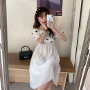 Dress Summer 2021 White, black Average size Mid length dress singleton  Short sleeve Sweet square neck High waist Socket 18-24 years old Type A bow 30% and below solar system