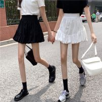 skirt Summer 2021 Average size White, black Short skirt Versatile High waist A-line skirt Solid color Type A 18-24 years old 30% and below