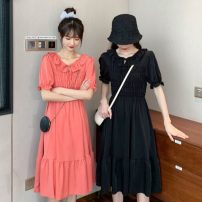 Dress Summer 2021 Red, black Average size Mid length dress singleton  Short sleeve Sweet Lotus leaf collar High waist Solid color Socket A-line skirt puff sleeve Others 18-24 years old Type A Auricularia auricula, fold, thread, tie 30% and below solar system