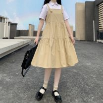 Dress Summer 2021 Shirt, suspender, skirt Average size Mid length dress Short sleeve Sweet Loose waist Solid color Socket Big swing 18-24 years old Type A Strap, strap 30% and below solar system