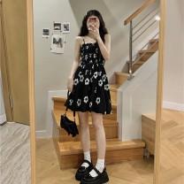 Dress Summer 2021 braces skirt Average size Middle-skirt singleton  commute High waist Socket 18-24 years old Type A Korean version printing 30% and below