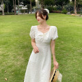 Dress Summer 2021 White brooch, white Brooch high quality version S,M,L Mid length dress singleton  Short sleeve commute square neck High waist Solid color Socket A-line skirt puff sleeve Others 18-24 years old Type A Simplicity Nail bead, 3D, printing 30% and below other
