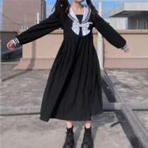 Dress Spring 2021 Picture color Average size longuette singleton  Long sleeves Sweet Admiral High waist Solid color Socket Big swing 18-24 years old Type A bow 30% and below college