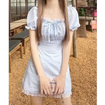 Dress Summer 2021 Blue, blue quality S,M,L Middle-skirt singleton  Short sleeve Sweet square neck High waist lattice A-line skirt puff sleeve 18-24 years old Type A Fungus, splicing 30% and below solar system