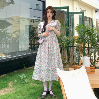 Dress Summer 2021 Picture color Average size longuette singleton  Short sleeve Sweet Doll Collar High waist Socket A-line skirt puff sleeve 18-24 years old Type A printing 30% and below Mori