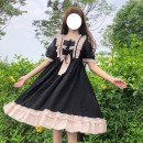 Dress Summer 2021 Black card, black red Average size Middle-skirt singleton  Short sleeve Sweet square neck High waist Solid color Big swing 18-24 years old Type A Bow, Ruffle 30% and below other solar system