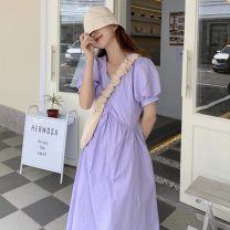 Dress Summer 2021 violet Average size longuette singleton  Short sleeve Sweet V-neck High waist Solid color Socket A-line skirt Others 18-24 years old Type A Pleating 30% and below solar system