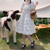 Dress Summer 2021 White, black Average size Mid length dress singleton  Short sleeve Sweet High waist Socket A-line skirt 18-24 years old Type A Embroidery 30% and below solar system