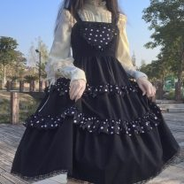 Dress Summer 2021 Black, black premium Average size Middle-skirt singleton  Sweet High waist Big swing camisole 18-24 years old Type A Lace 30% and below Lolita