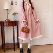 Dress Spring 2021 Picture color Average size Mid length dress singleton  Long sleeves Sweet Lotus leaf collar Elastic waist Solid color Socket Ruffle Skirt Lotus leaf sleeve Others 18-24 years old Type A 30% and below other other Mori