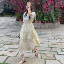 Dress Summer 2021 Yellow flowers, blue flowers Average size Mid length dress Fake two pieces Short sleeve Sweet Crew neck High waist Broken flowers Socket Big swing puff sleeve Others 18-24 years old Type A Stitching, printing 30% and below solar system