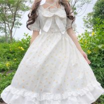 Dress Summer 2021 white Average size Mid length dress singleton  Short sleeve Sweet square neck High waist Decor Socket Ruffle Skirt puff sleeve Others 18-24 years old Type H Bows, open backs, folds, bandages, prints 30% and below solar system
