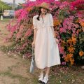 Dress Summer 2021 White, yellow Average size longuette singleton  Short sleeve commute square neck High waist Solid color Socket A-line skirt puff sleeve Others 18-24 years old Type A lady Embroidery, buttons 30% and below