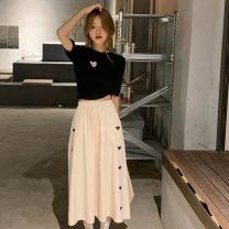 skirt Summer 2021 Average size White T-shirt, black T-shirt, white skirt, black skirt Mid length dress Sweet Natural waist A-line skirt other Type A 18-24 years old 30% and below Hollowed out, printed solar system