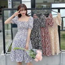 Dress Summer 2021 Red, blue, yellow, black Average size Middle-skirt singleton  Short sleeve Sweet square neck Socket A-line skirt puff sleeve 18-24 years old Type A printing 30% and below