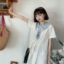Dress Summer 2021 White, pink, blue Average size Mid length dress singleton  Short sleeve Sweet Doll Collar Loose waist Pleated skirt 18-24 years old Type A 30% and below solar system