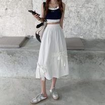 skirt Summer 2021 Average size Off white, black Mid length dress commute High waist A-line skirt Solid color Type A 18-24 years old 30% and below bow Korean version