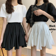 skirt Summer 2021 Average size White, black Short skirt commute High waist Irregular Solid color Type A 18-24 years old 30% and below Fold, splice Korean version