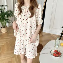 Pajamas / housewear set female Other / other Average size Love suit , Love nightdress other Short sleeve Sweet Leisure home summer Thin money Crew neck heart-shaped shorts Tether youth 2 pieces rubber string Less than 20% printing Middle-skirt