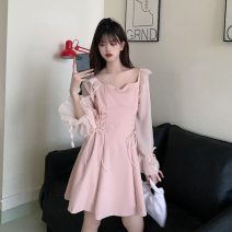 Dress Spring 2021 Pink, black, pink premium, black premium M, L Mid length dress singleton  Long sleeves commute High waist Solid color A-line skirt routine 18-24 years old Type A Korean version Bandage 30% and below