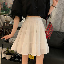 skirt Summer 2021 Average size Black long, white long, black short, white short Versatile High waist Splicing style Solid color Type A 18-24 years old 30% and below fold