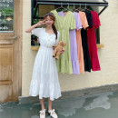 Dress Summer 2021 White, purple, red, green, black, orange Average size Mid length dress singleton  Short sleeve Sweet square neck High waist Solid color Socket other puff sleeve Others 18-24 years old Type A Button, stitching, chain 30% and below solar system