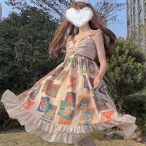 Dress Summer 2021 Apricot Average size Mid length dress singleton  Sweet High waist Socket Ruffle Skirt camisole 18-24 years old Type A Lotus leaf edge 30% and below princess
