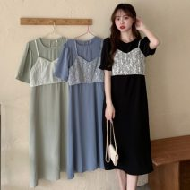 Dress Summer 2021 Green, blue, black Average size Mid length dress Two piece set Short sleeve Sweet Crew neck Elastic waist Solid color zipper A-line skirt Pile sleeve Others 18-24 years old Type A Embroidery , zipper , Lace , Frenulum 30% and below college