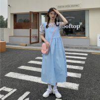 Fashion suit Summer 2021 Average size Pink floral top, blue floral top, pink suspender skirt, blue suspender skirt 18-25 years old 30% and below