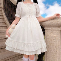 Dress Summer 2021 Picture color, picture color high quality version M, L Mid length dress singleton  Short sleeve Sweet square neck High waist Solid color A-line skirt 18-24 years old Type A Lotus leaf edge 30% and below solar system