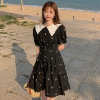Dress Summer 2021 White, black S, M Middle-skirt singleton  Short sleeve Sweet Doll Collar High waist Broken flowers Socket A-line skirt Others 18-24 years old Type A Embroidery, buttons 30% and below solar system
