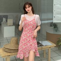 Dress Summer 2021 White inside, red suspender skirt, blue inside, blue suspender skirt S. M, l, average size Mid length dress Fake two pieces Short sleeve Sweet Crew neck High waist Decor Socket Irregular skirt routine 18-24 years old Type A Print, strap 30% and below solar system