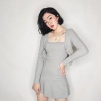 Dress Autumn of 2019 S, M Short skirt Two piece set Long sleeves Crew neck High waist