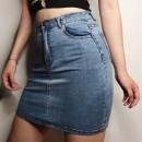 skirt Autumn of 2019 S,M,L It's gray black, denim blue Short skirt Versatile Solid color