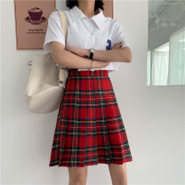 skirt Summer 2020 M,L,XL,2XL,3XL,4XL red-checkered pattern Mid length dress commute High waist Pleated skirt lattice Type A other polyester fiber Three dimensional decoration, zipper Korean version