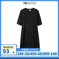 Dress Summer 2020 black S M L Mid length dress singleton  Short sleeve commute Crew neck Loose waist Solid color Socket other routine camisole 18-24 years old Type H 7.Modifier Korean version Pleated three dimensional decoration 70012116-2 81% (inclusive) - 90% (inclusive) other cotton