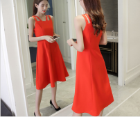 Dress Summer of 2018 Black, red, light green XS,S,M,L,XL Mid length dress Sweet Solid color Other / other 51% (inclusive) - 70% (inclusive) cotton