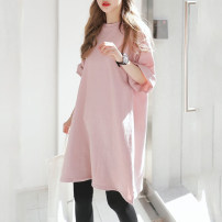 Dress Other / other Pink, white, black M,L,XL,XXL Korean version Short sleeve Medium length summer Crew neck Solid color Pure cotton (95% and above)
